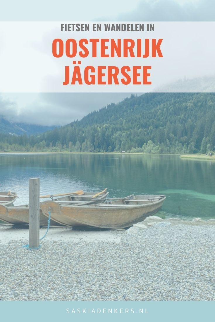 Fietsen in Oostenrijk. Huur een e-bike en fiets naar de schitterende Jägersee. Pauzeer op het terras, maak een wandeling of huur een roeiboot.